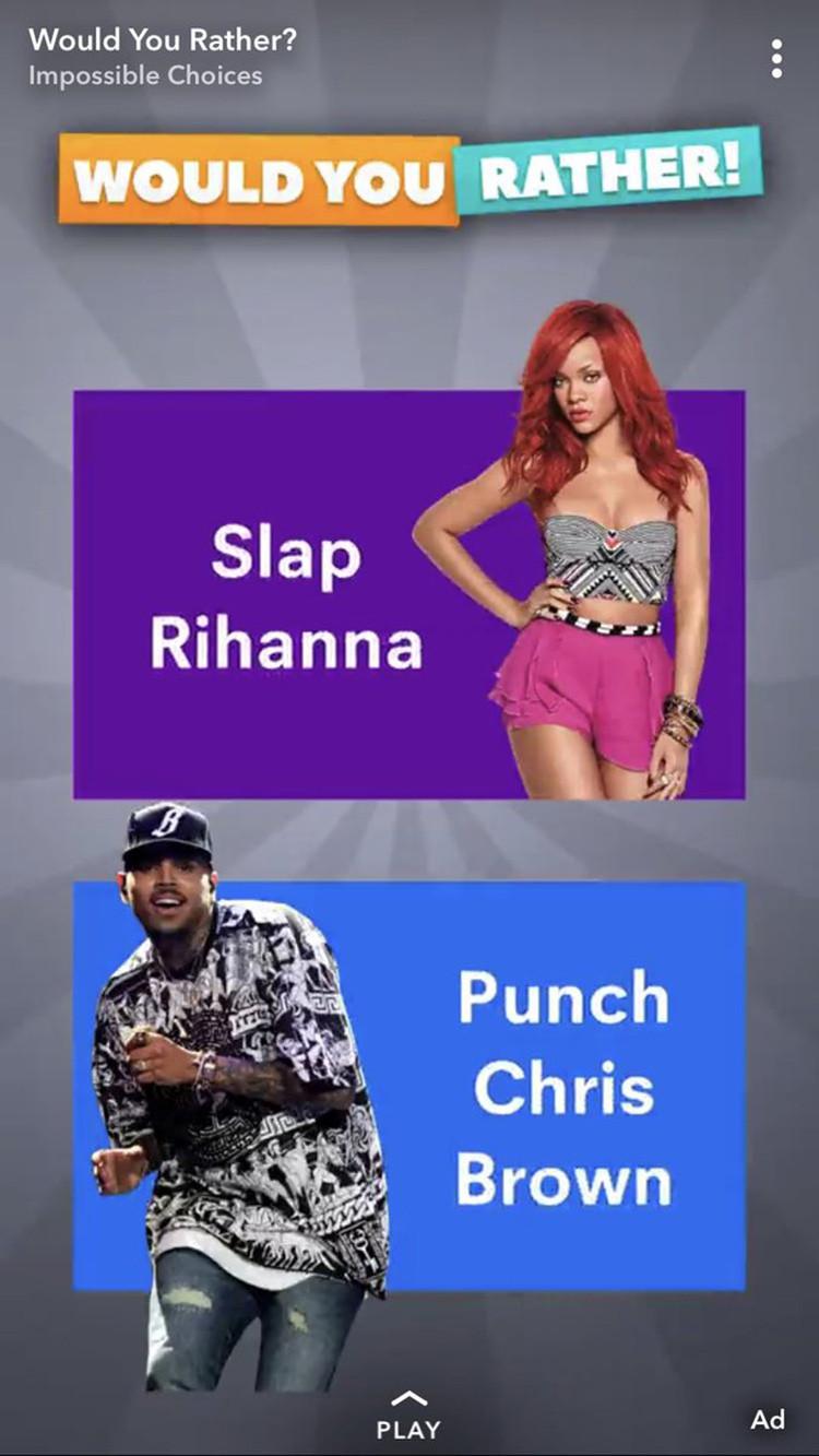 Rihanna snapchat ad