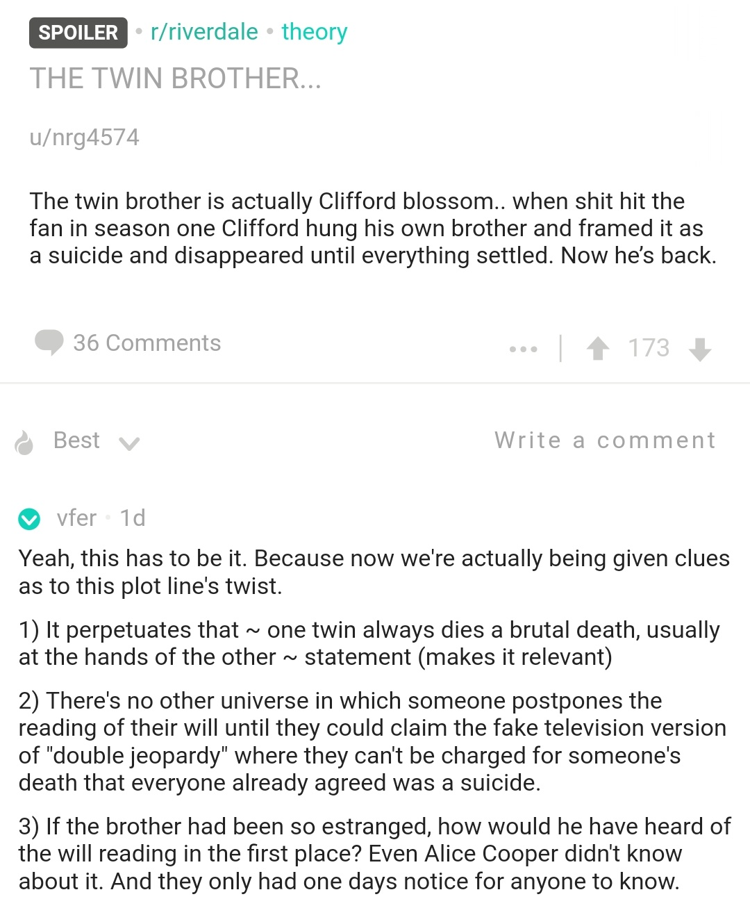 Riverdale twin brother reddit theory