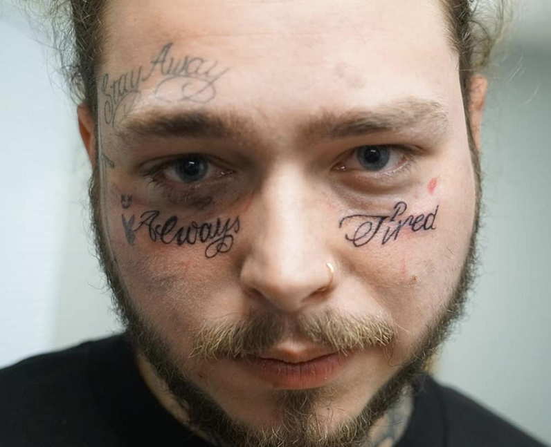 Post Malone Always Tired face tattoo