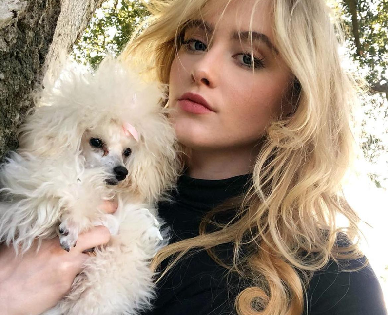 Kathryn Newton and her pet dog