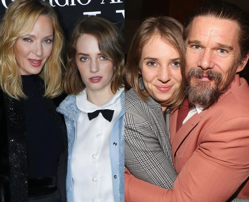 Maya Hawke with her parents Uma Thurman and Ethan